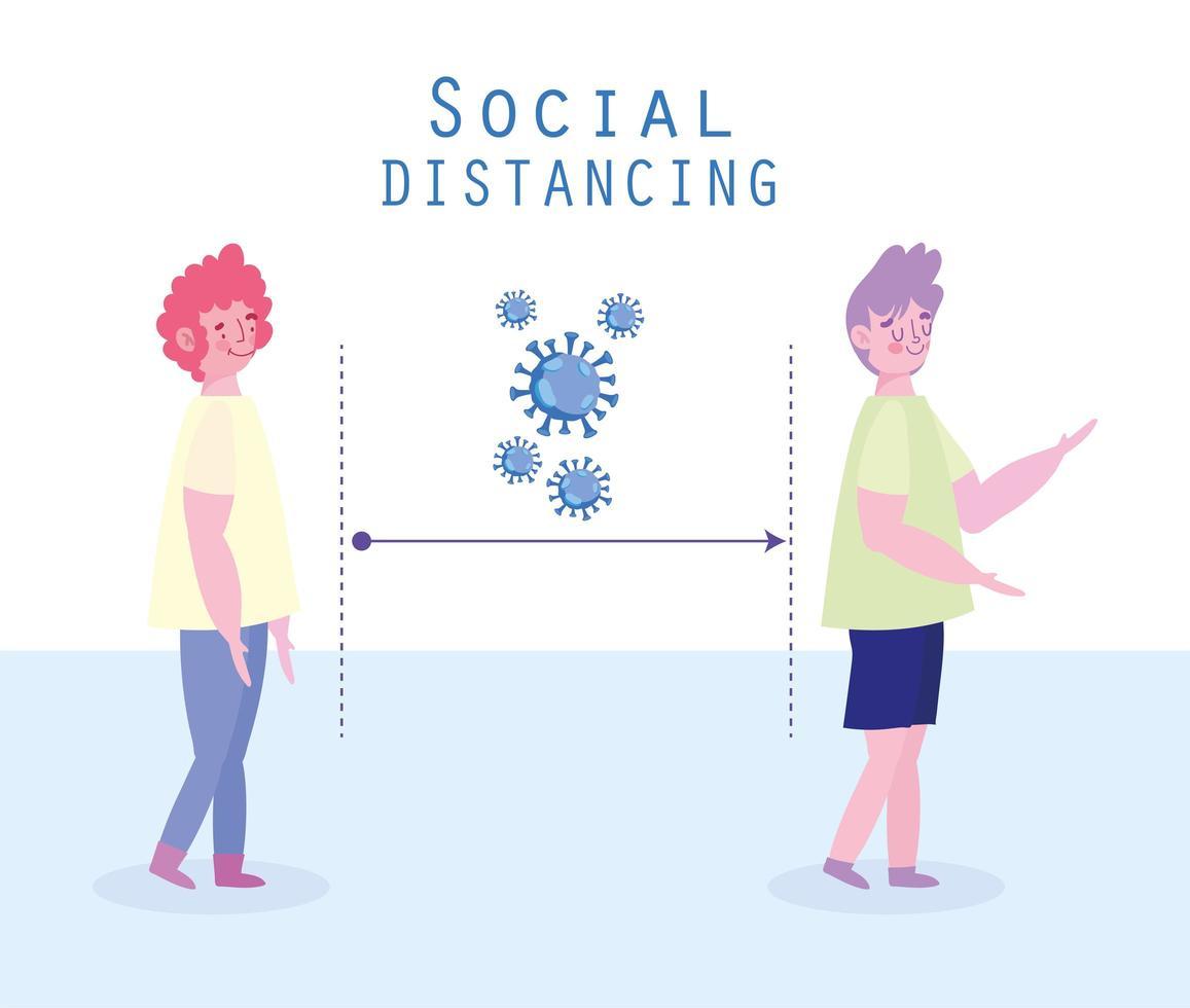 personaggi sul profilo sociale distanziandosi per prevenire infezioni virali vettore