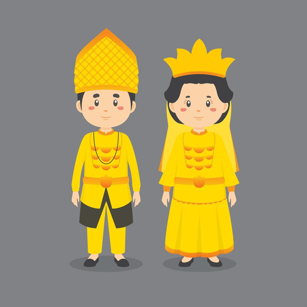 personaggio che indossa un abito centrale sulawesi vettore