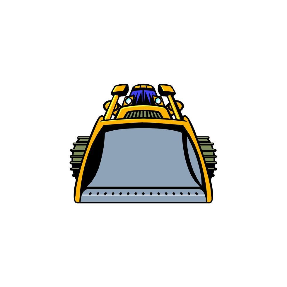 cartone animato di un bulldozer dalla vista frontale vettore