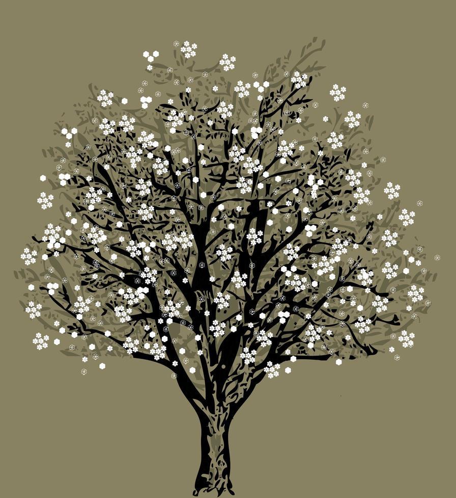 sagoma albero con fiori bianchi vettore