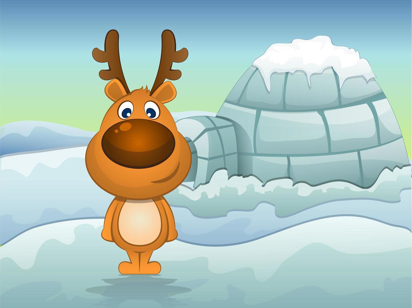 renne in inverno con igloo vettore