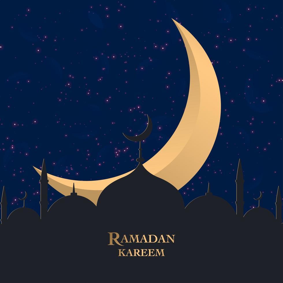 saluto di ramadan kareem con mezzaluna dietro la sagoma della moschea vettore