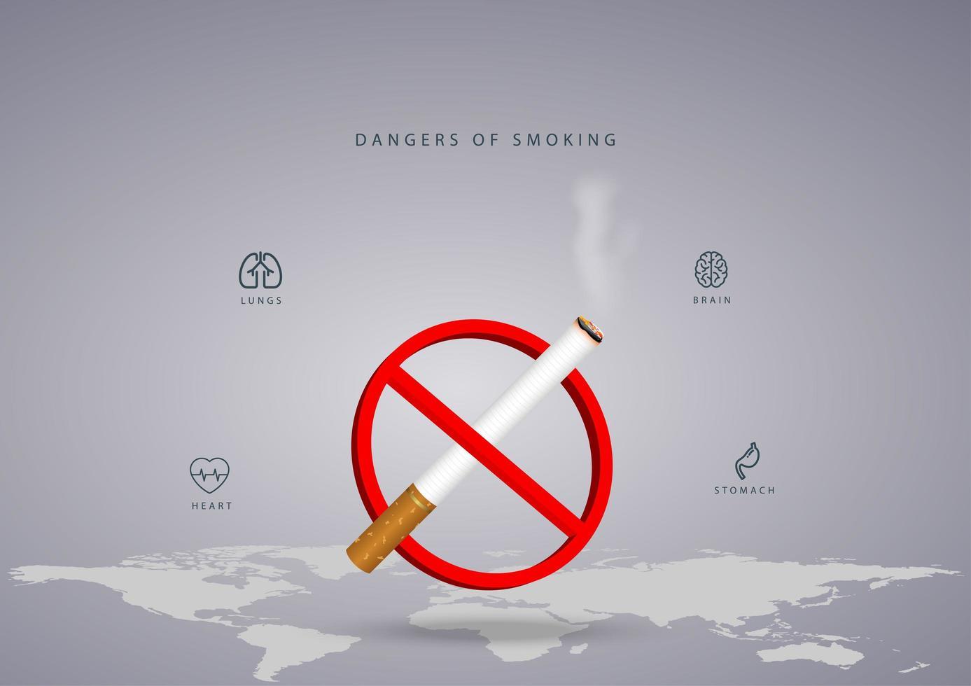 design per il giorno non fumatori con mappa del mondo e sigaretta vettore