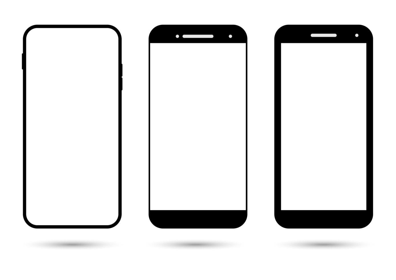 collezione di smartphone con schermo bianco vuoto vettore