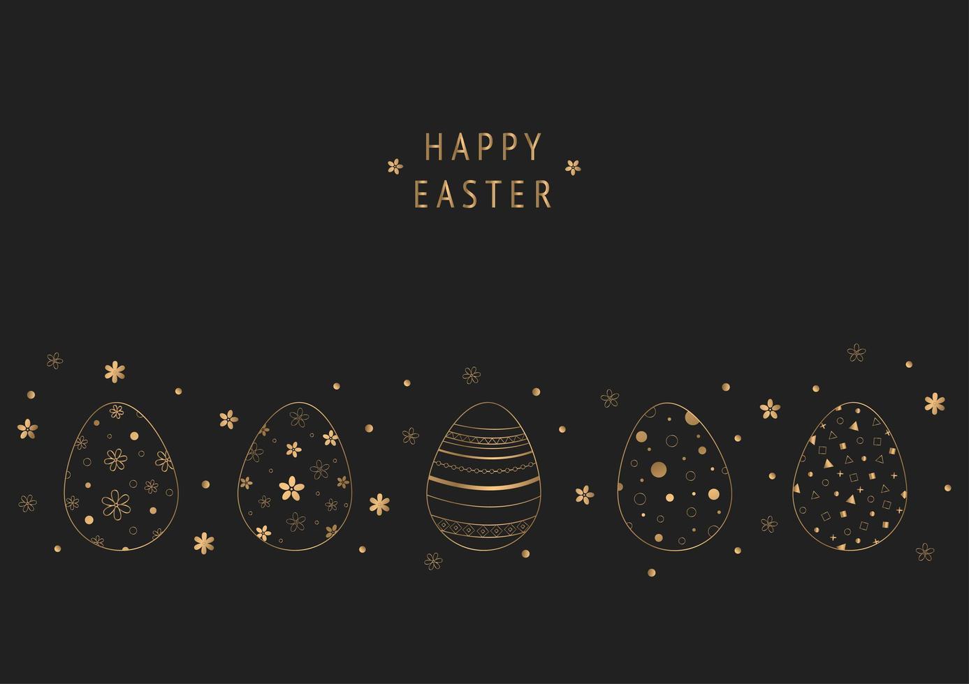 scuro felice pasqua design con contorno dorato uova fantasia vettore