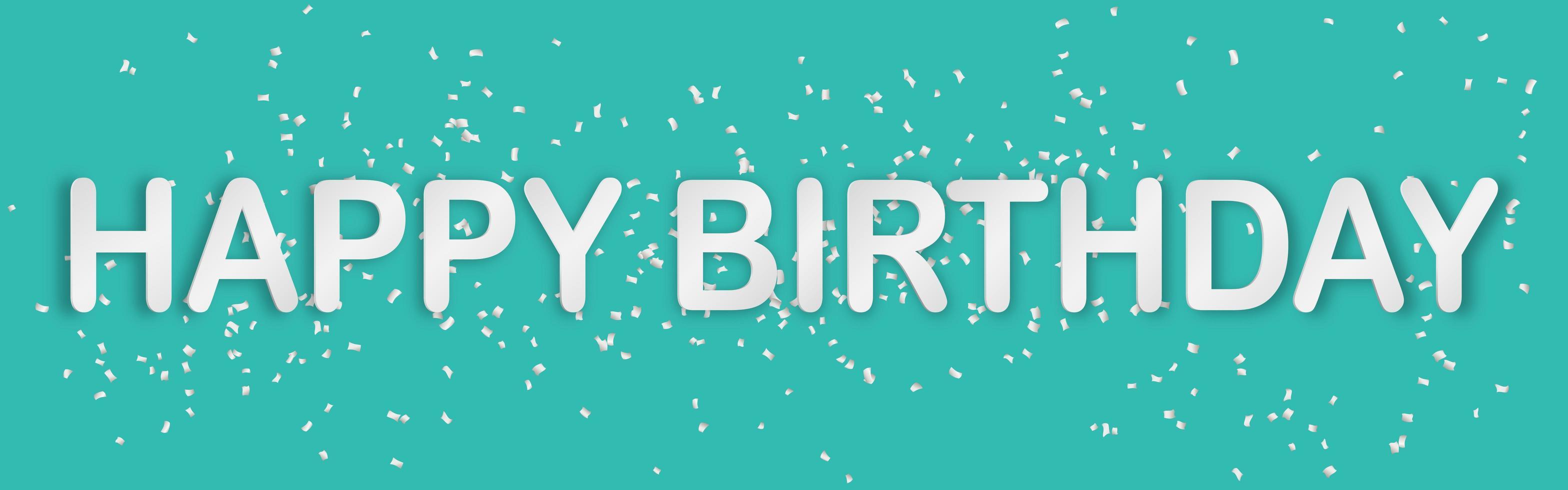 buon compleanno tipografia carta stile arte banner con coriandoli vettore