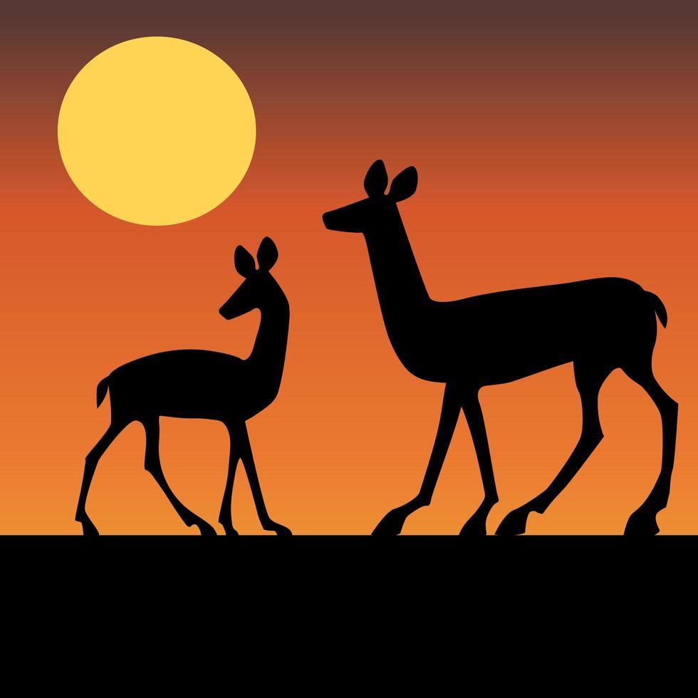 sagome di cervi con il tramonto vettore