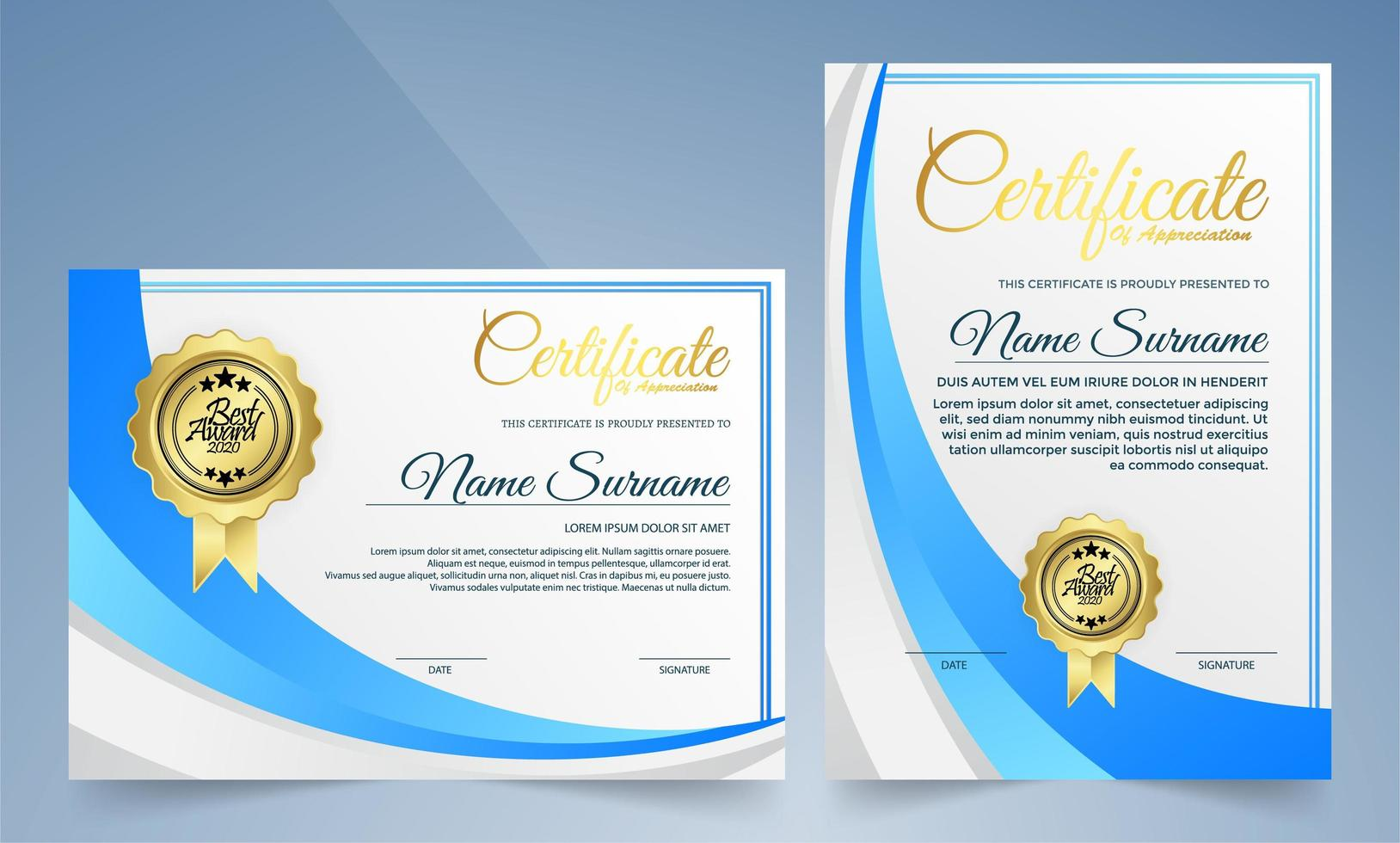 certificati di forma curva blu e bianca orizzontali e verticali vettore