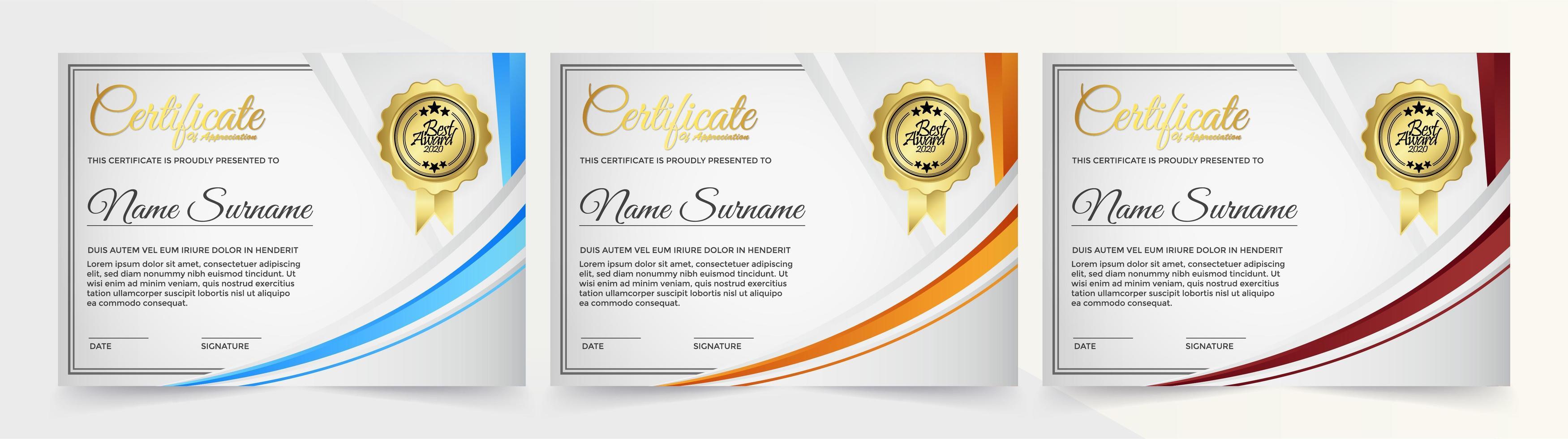 certificati bianchi con striscia curva blu, arancione e rossa vettore