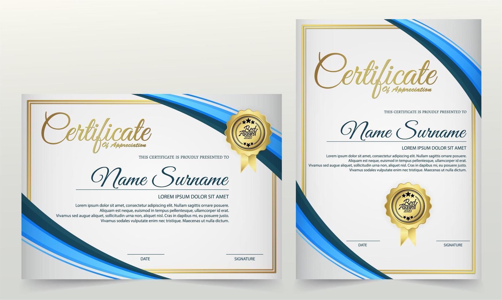 certificato orizzontale e verticale impostato in bianco e blu vettore