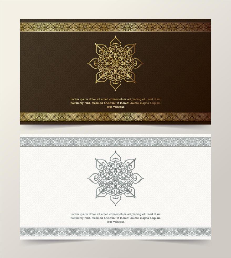 set di carte con cornice bordo ornamento decorativo dorato vettore