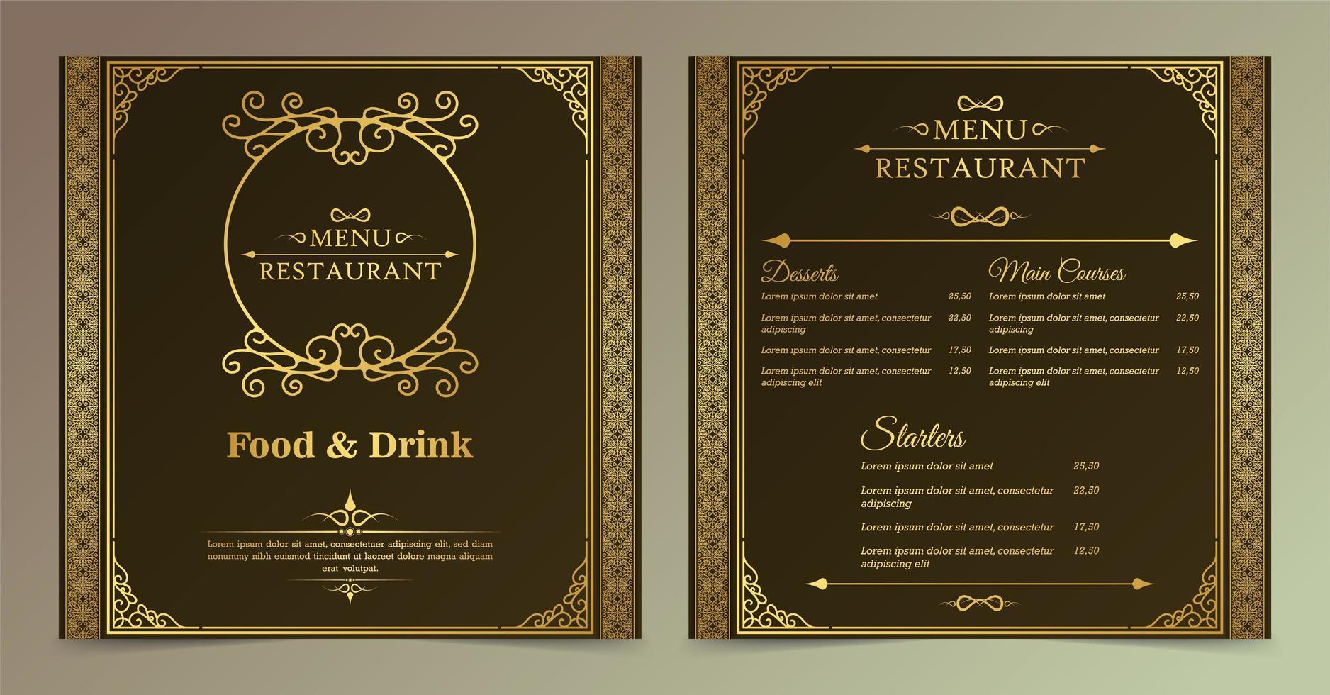 set di menu ristorante ornamentale quadrato vettore