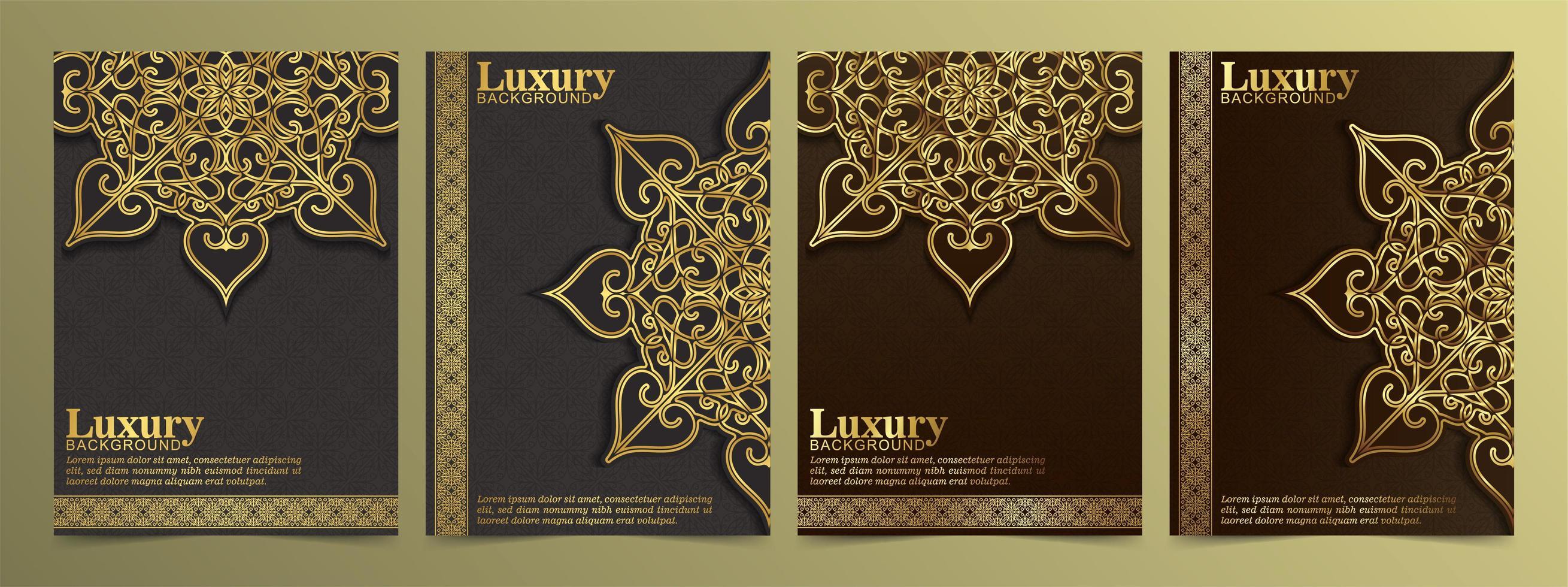 biglietto di auguri dorato di lusso con ornamenti mandala vettore