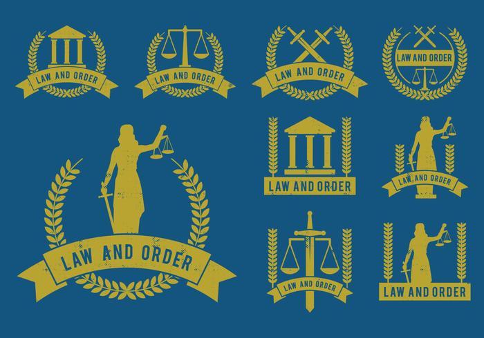 Insieme di vettore delle icone di ordine e della legge