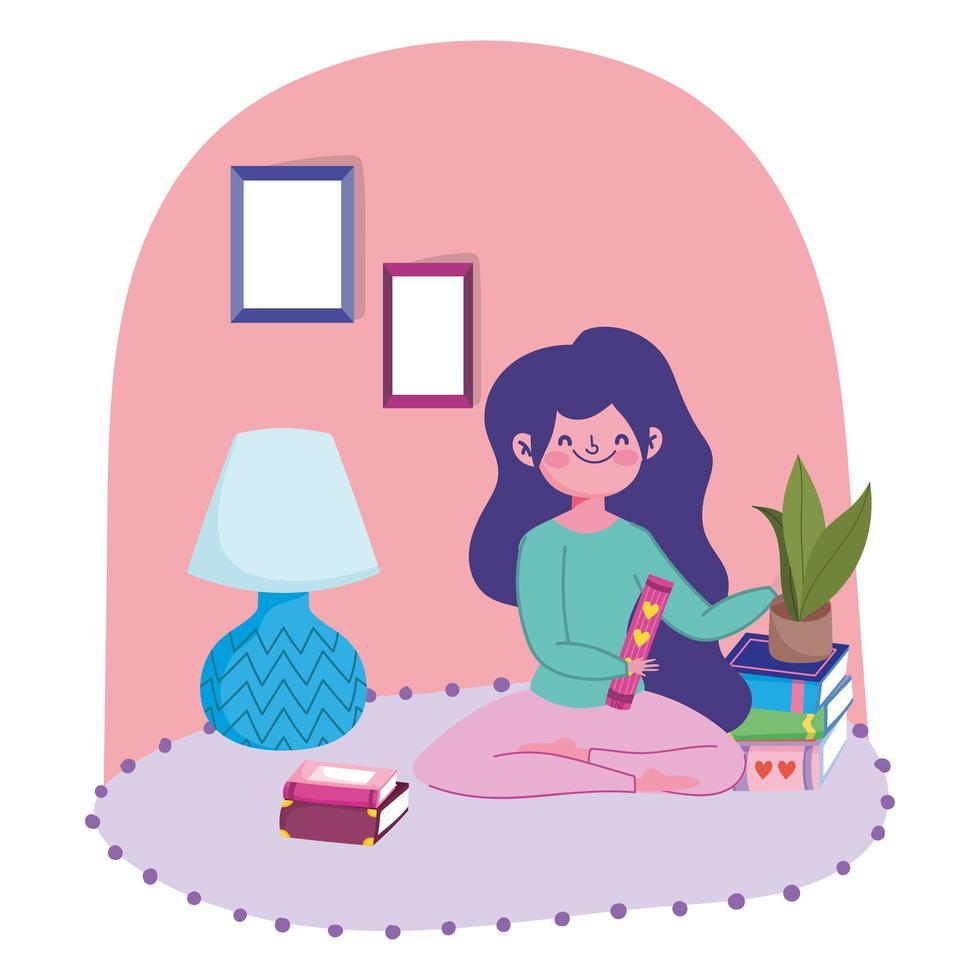 giovane ragazza sul pavimento con libri e piante vettore