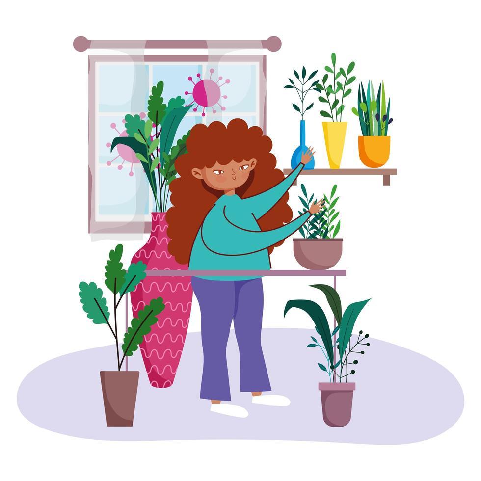 giovane donna che si prende cura di piante in vaso vettore