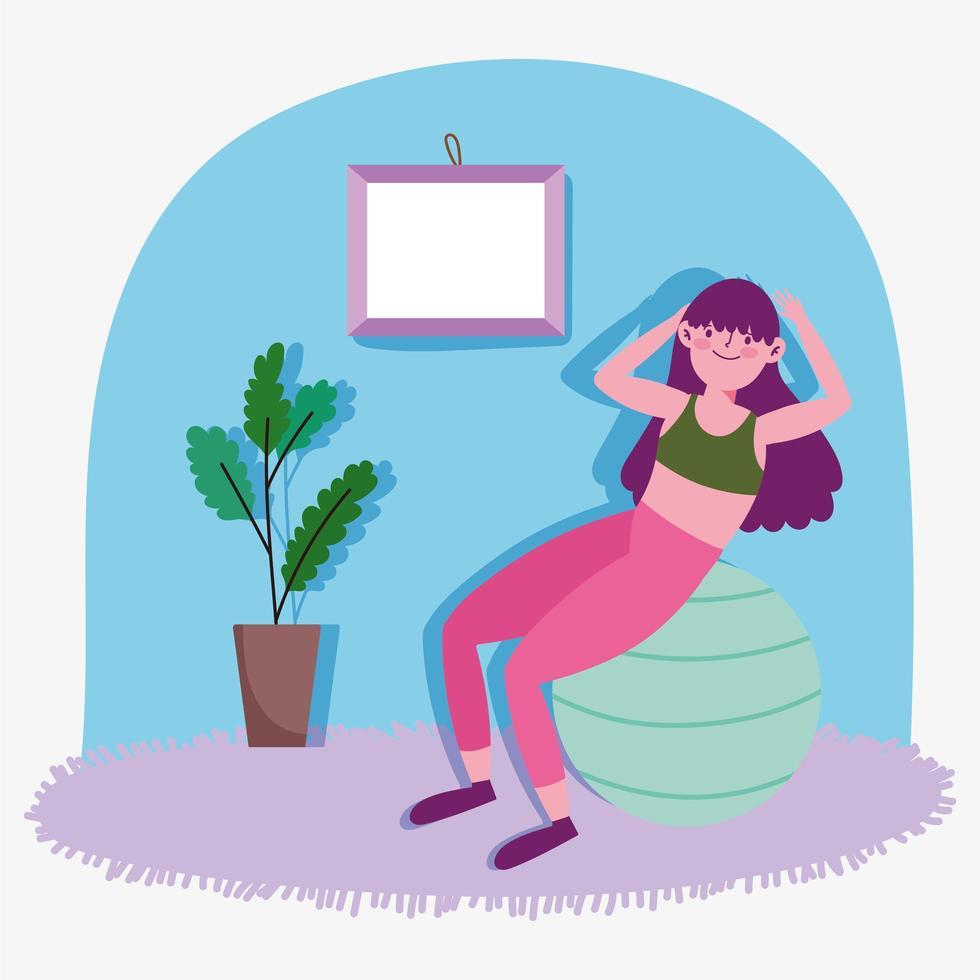 giovane donna che lavora con palla ginnica a casa vettore