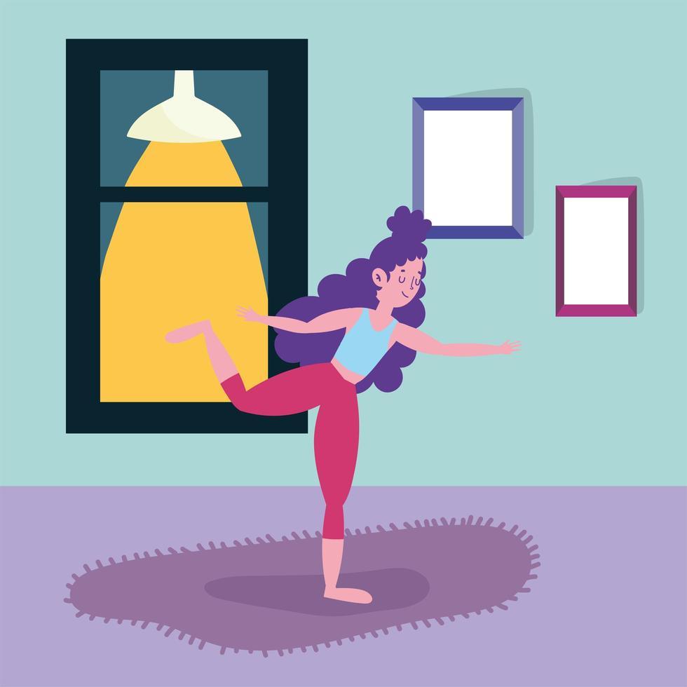 giovane donna che fa yoga a casa vettore