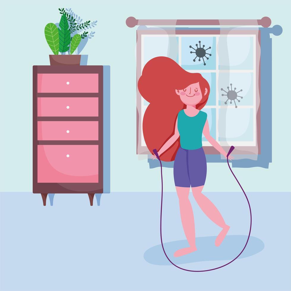 giovane ragazza saltare la corda e fare esercizio a casa vettore