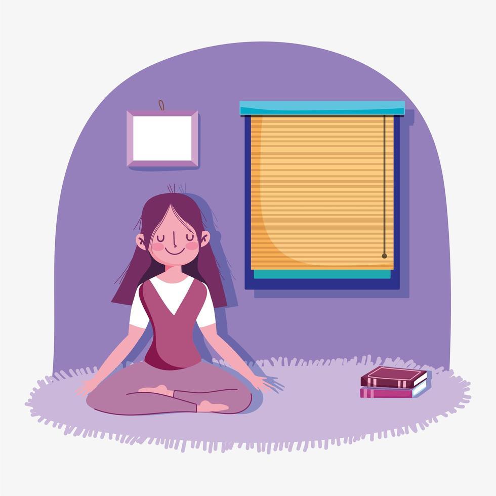giovane ragazza meditando a casa vettore