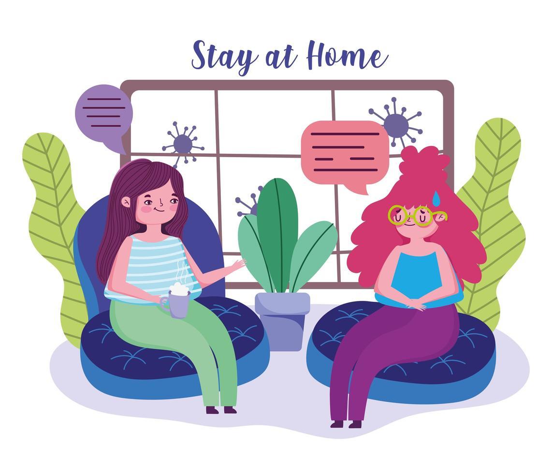 donne che parlano in soggiorno durante la quarantena vettore