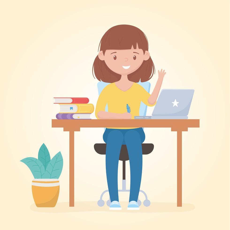 ragazza adolescente studiando con laptop e libri vettore