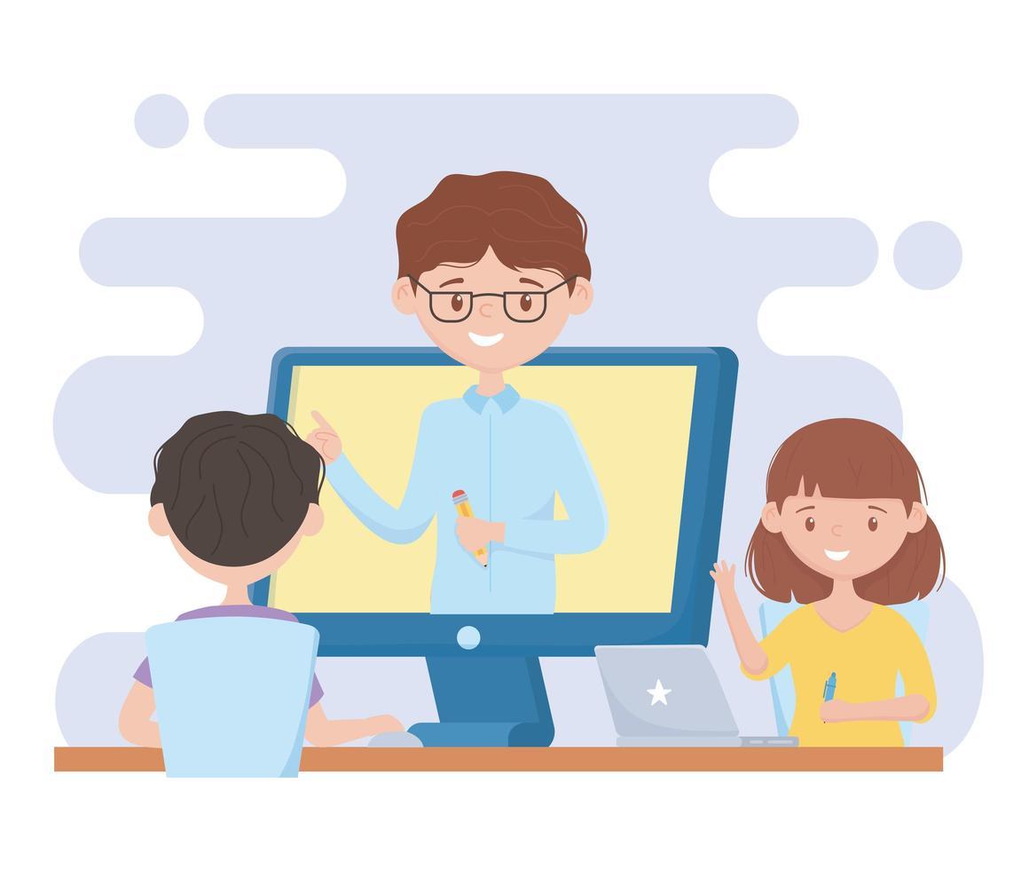formazione in linea con studenti che guardano la lezione sul computer vettore