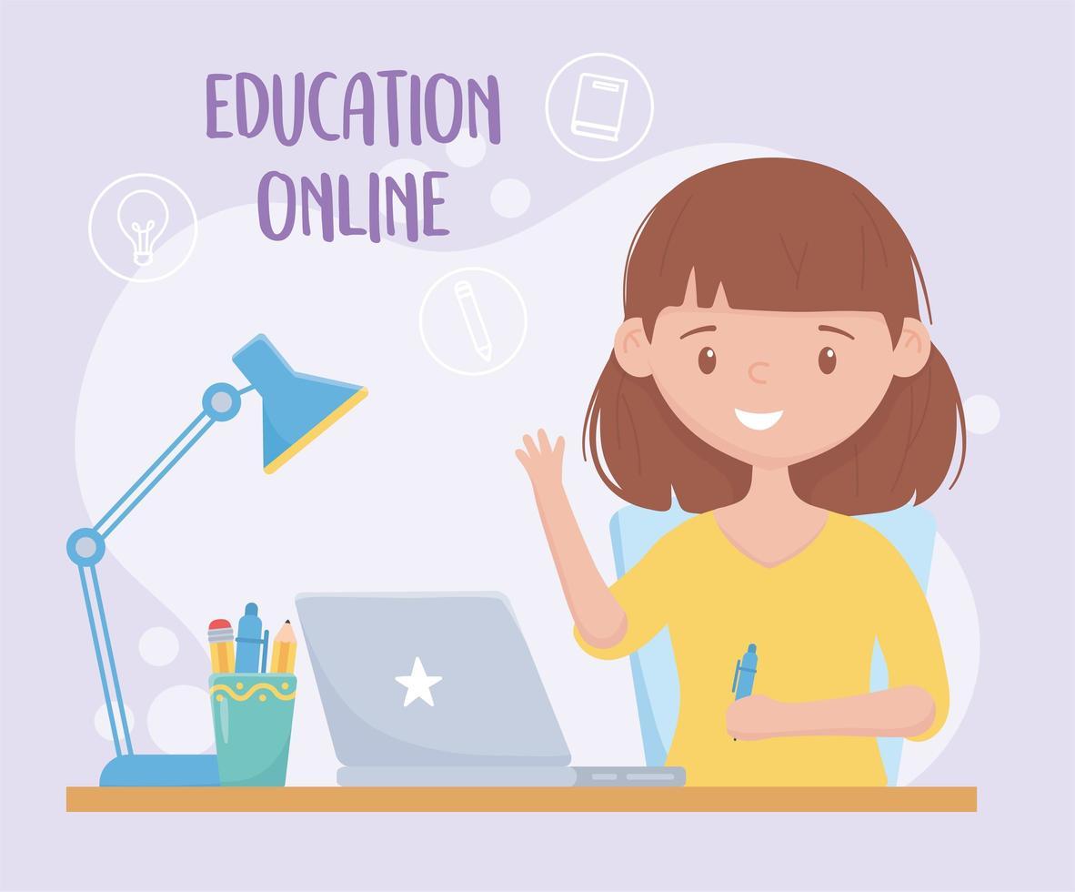 ragazza che studia online con banner laptop vettore
