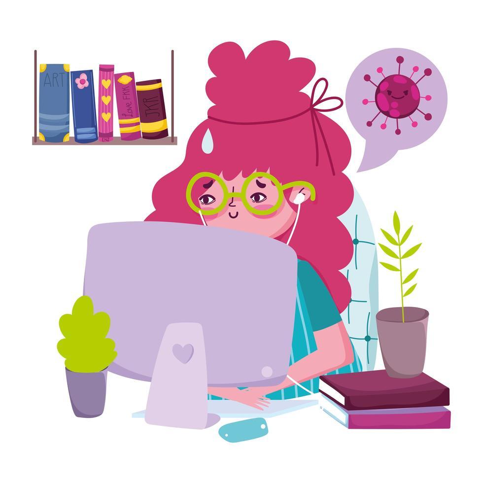 giovane donna sul computer vettore