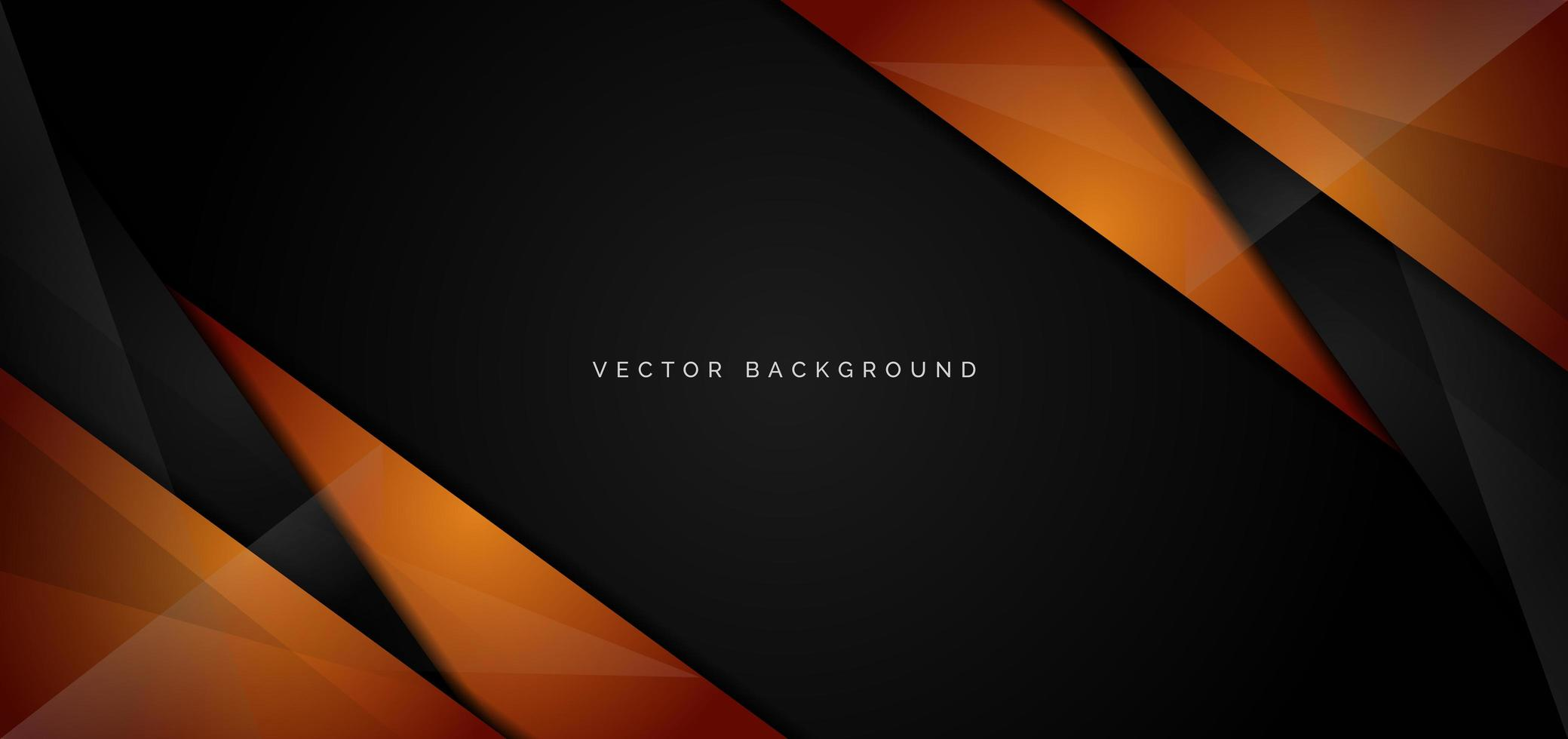 banner di angoli lucidi arancioni, neri su fondo nero vettore