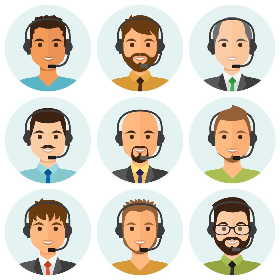 agenti di call center maschili round avatar vettore