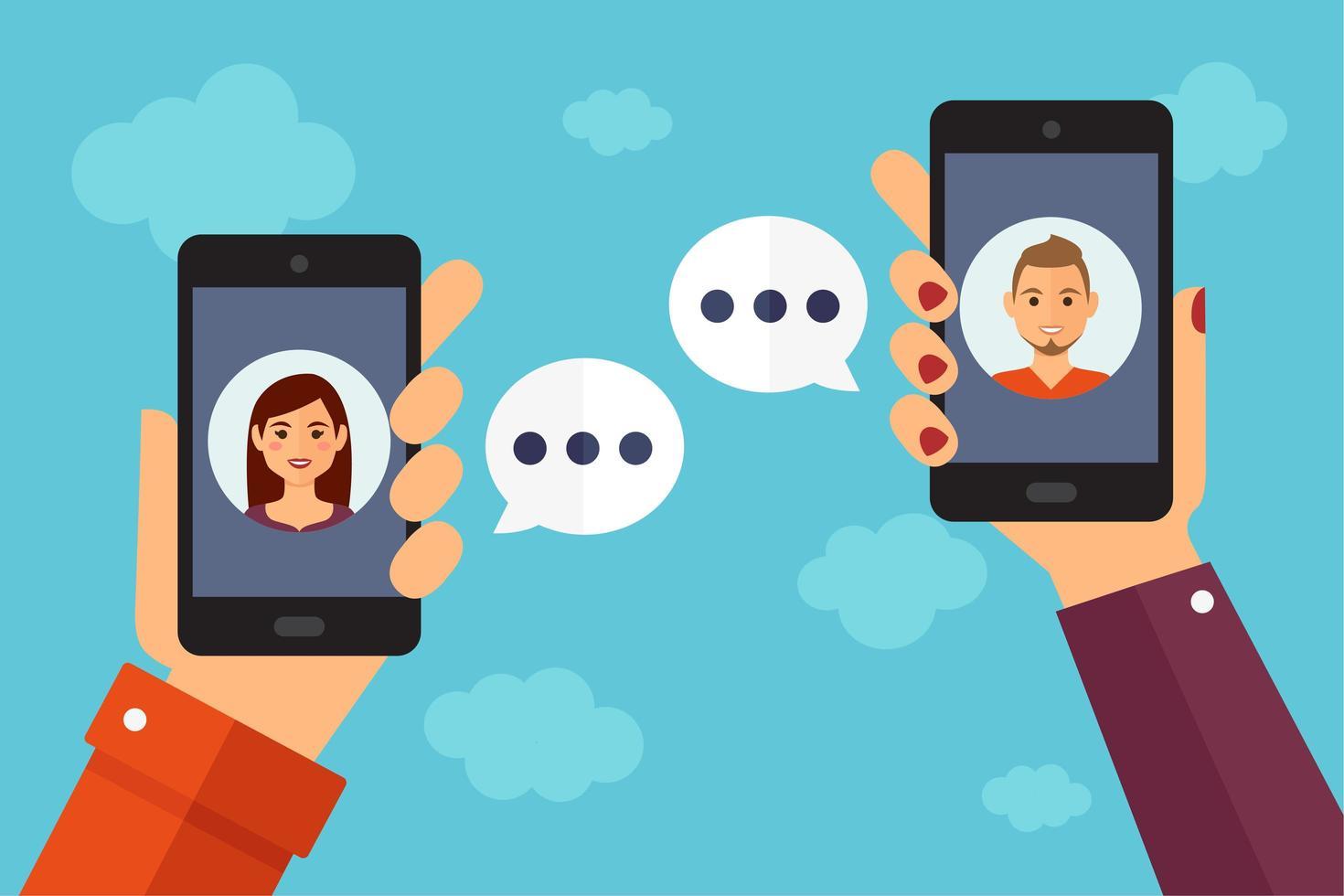 mani che tengono smartphone in chat a vicenda vettore