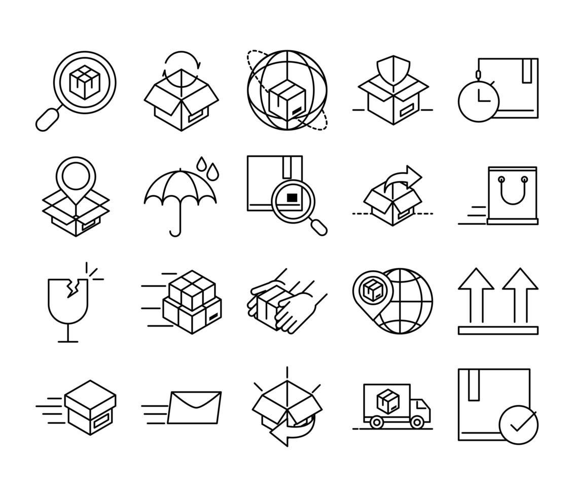 consegna e logistica muta pittogramma icona set vettore