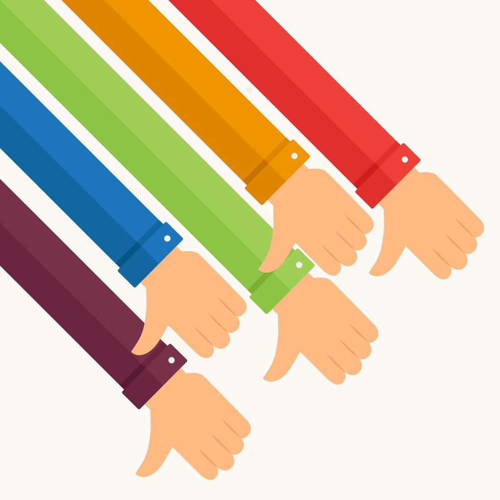 braccia colorate che danno il pollice verso il basso, antipatia vettore