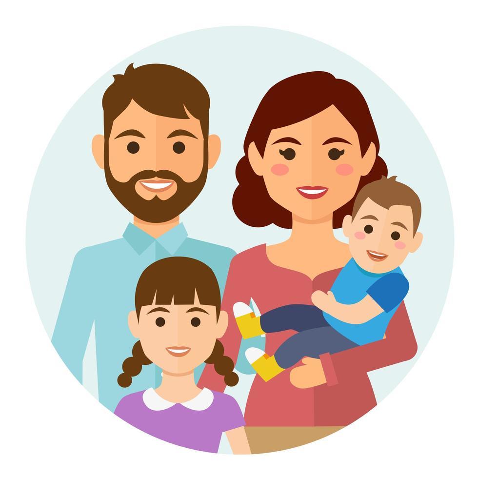 icona rotonda famiglia felice vettore