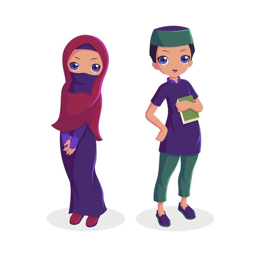 collezione di coppie musulmane uomo e donna vettore
