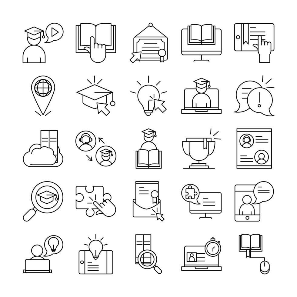 collezione di icone di pittogramma contorno formazione a distanza online vettore