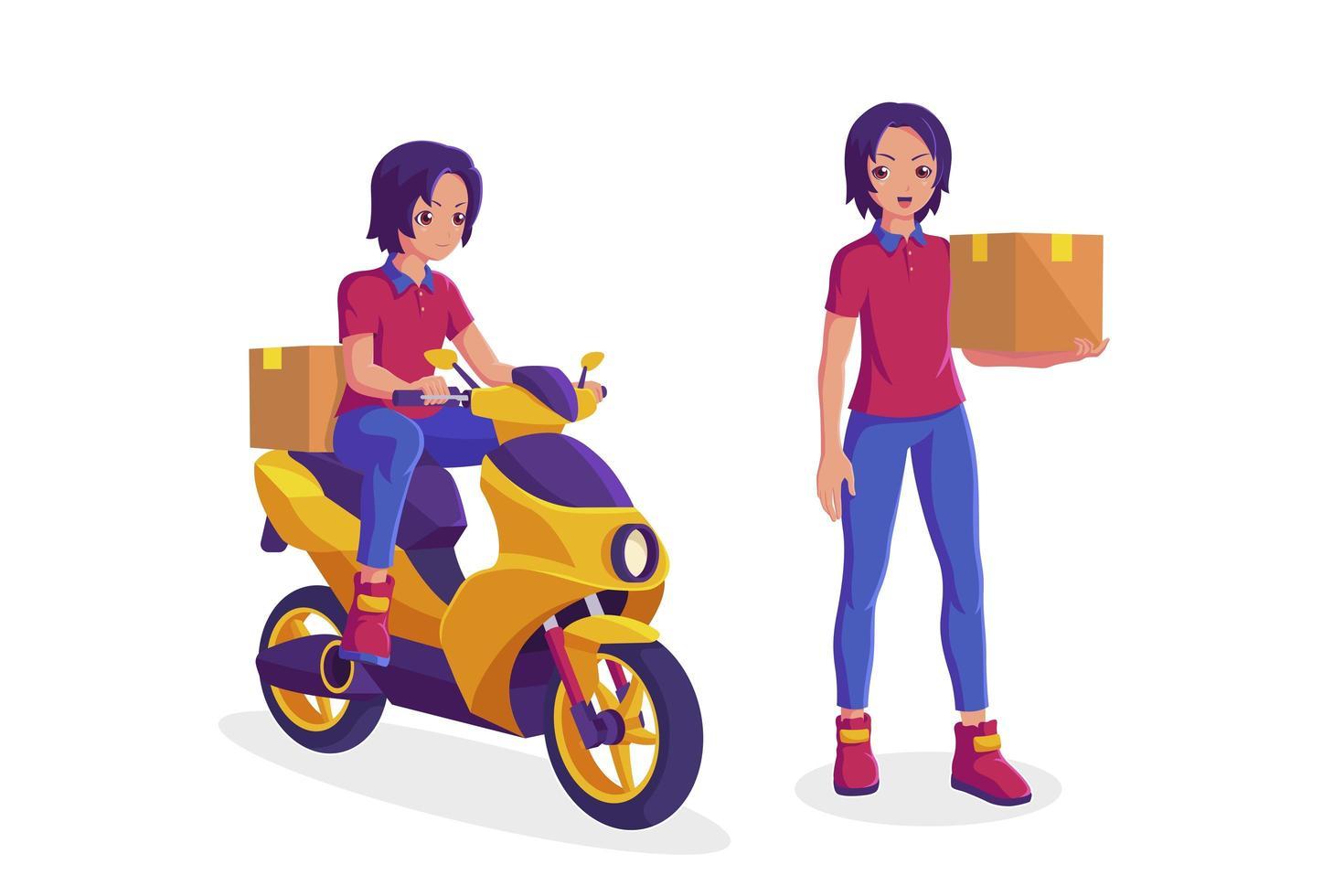 corriere di consegna in sella a moto e scatola di contenimento vettore