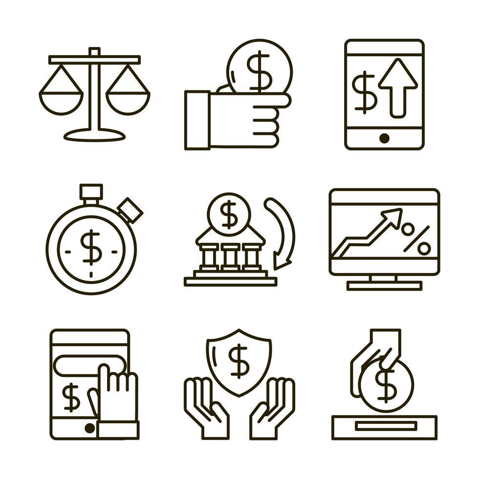 assortimento di icone di economia e investimenti vettore