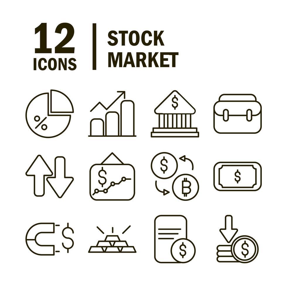 collezione di icone del mercato azionario e pittogramma finanziario vettore