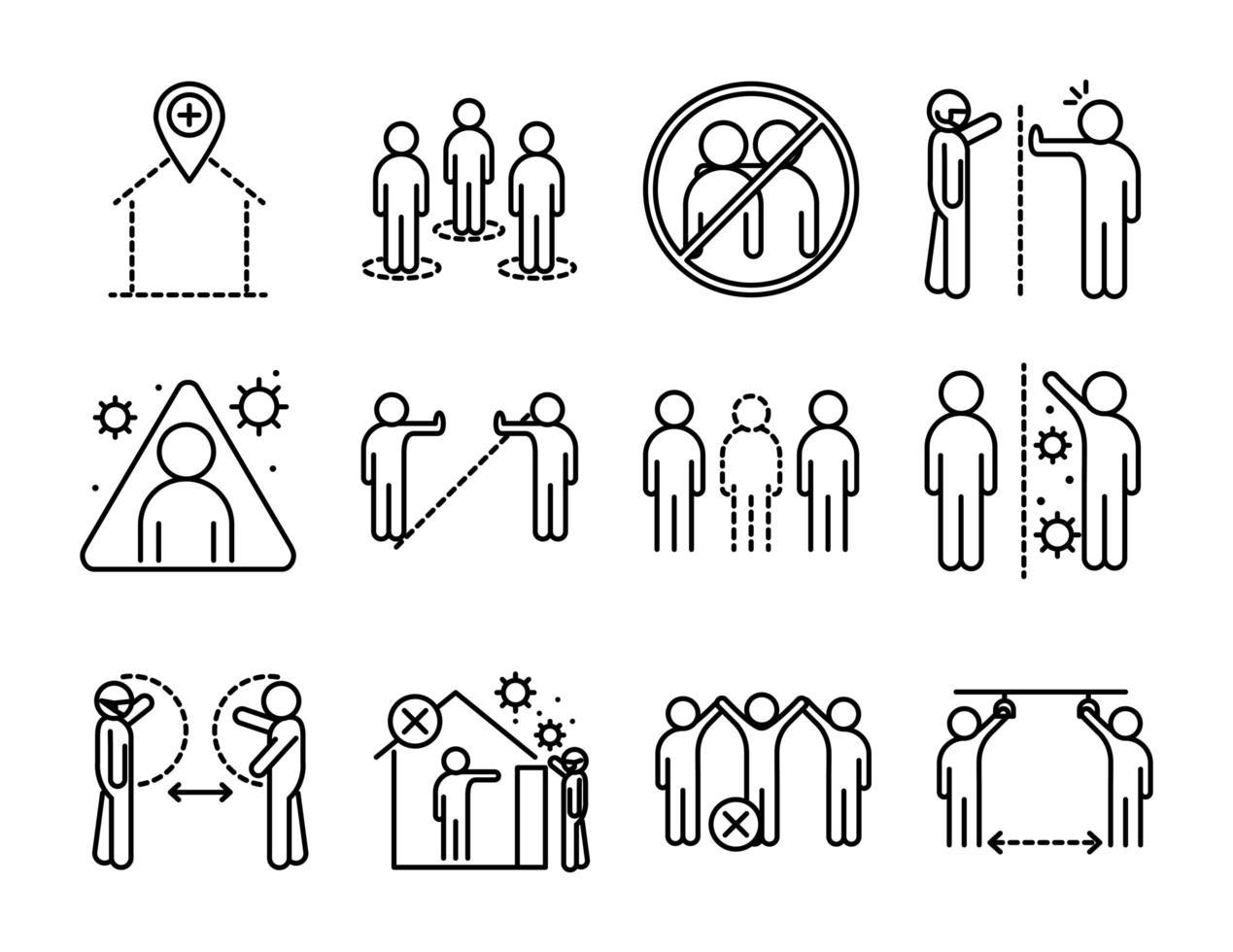 set di icone del pittogramma di contorno di distanza sociale e coronavirus vettore