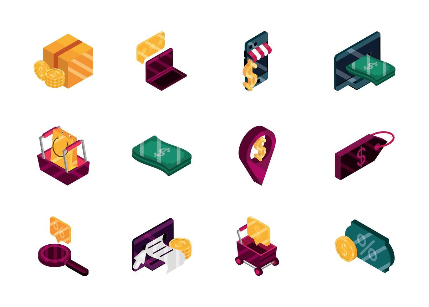 pacchetto di icone isometriche di shopping e commercio online vettore