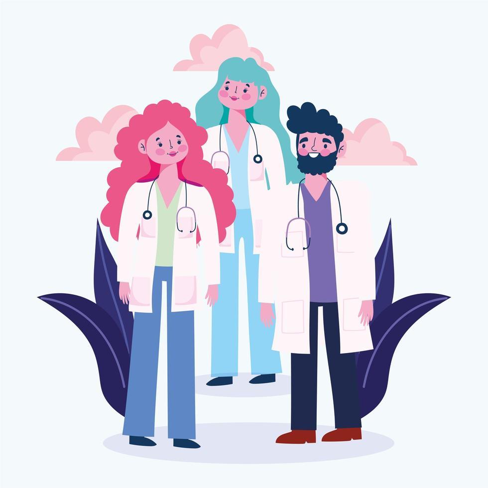 gruppo di medici con camici e stetoscopi vettore
