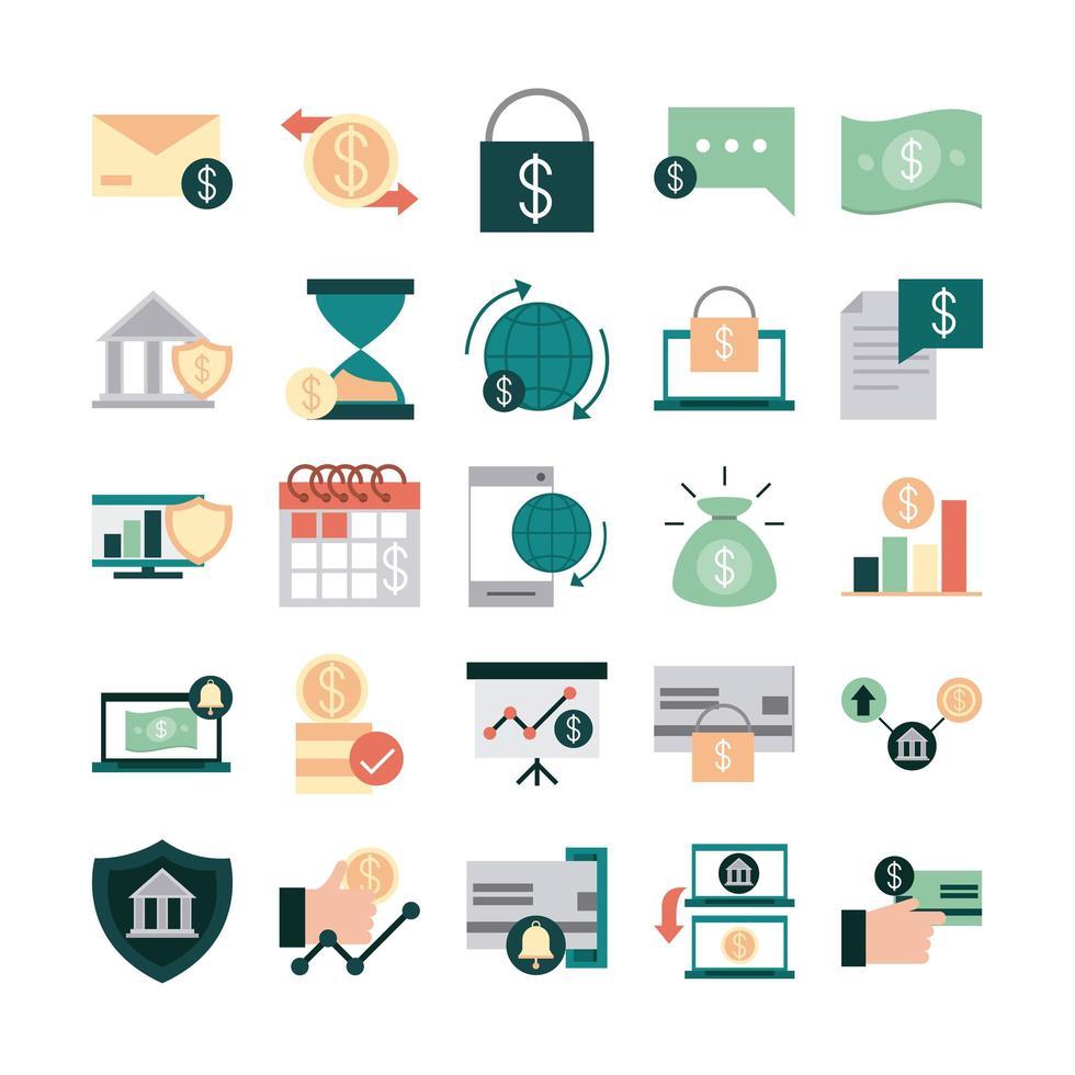 pacchetto di icone piatto denaro online e finanze mobili vettore