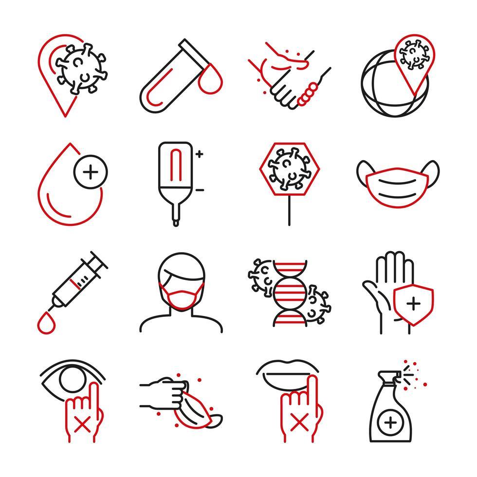 raccolta di cure mediche e infezione virale icone pittogramma bicolore vettore