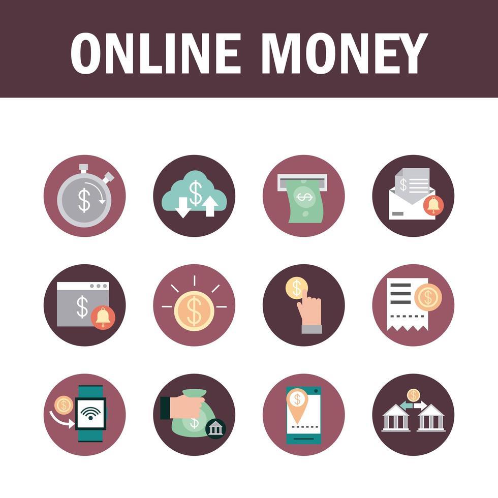 raccolta di icone di mobile banking e finanze vettore