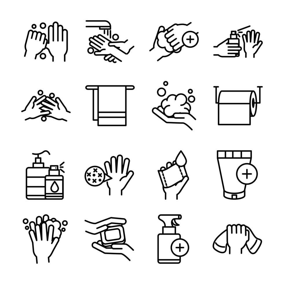 assortimento di icone dei pittogrammi per l'igiene delle mani e il controllo delle infezioni vettore