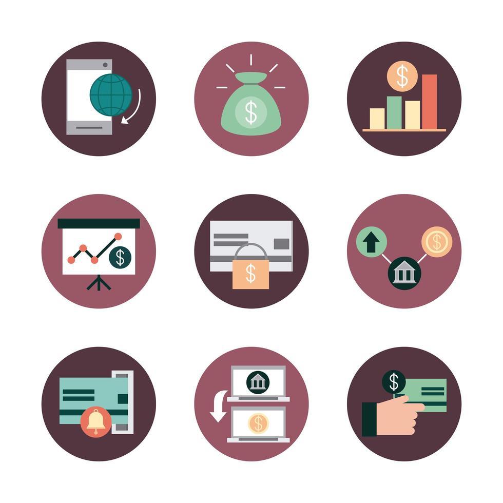 pacchetto di icone di mobile banking e finanze vettore