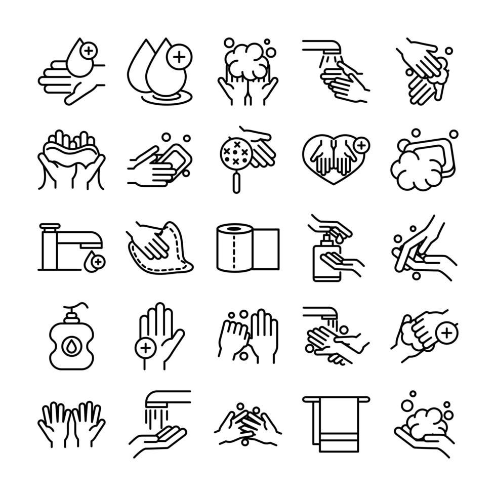 raccolta dell'icona del pittogramma di controllo delle infezioni e dell'igiene delle mani vettore