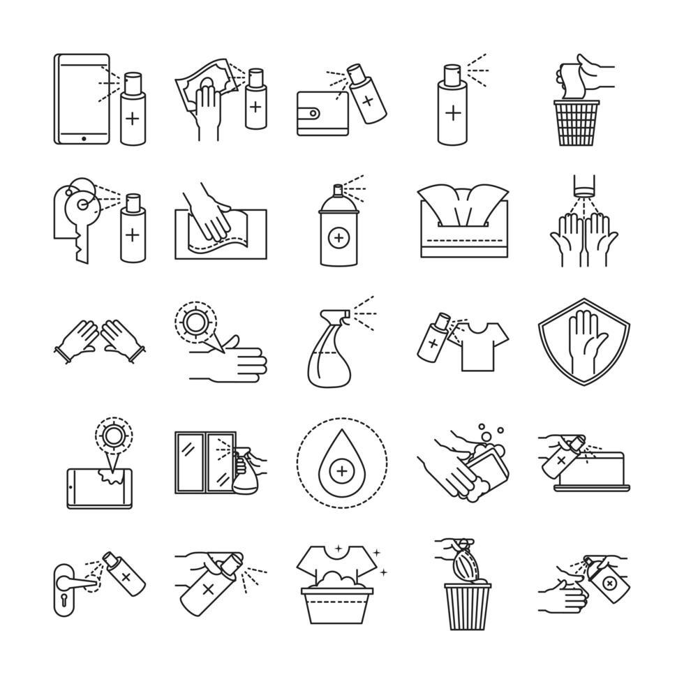 set di icone di pulizia e disinfezione contorno pittogramma vettore